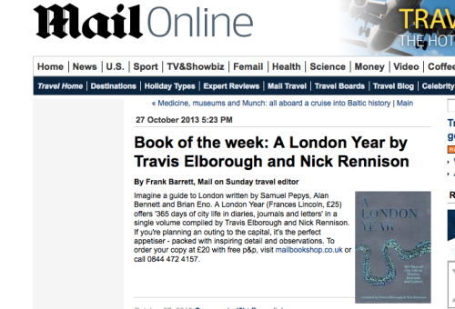 Review: A London Year - Book of the Week Mail on Sunday Travel Section