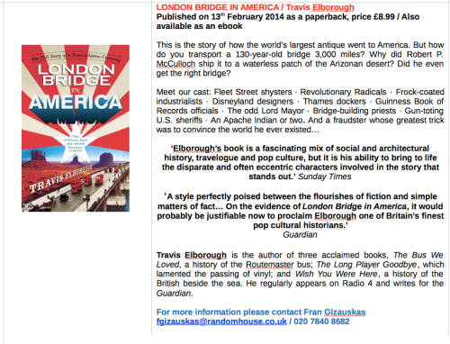 Press Release for the paperback of London Bridge in America