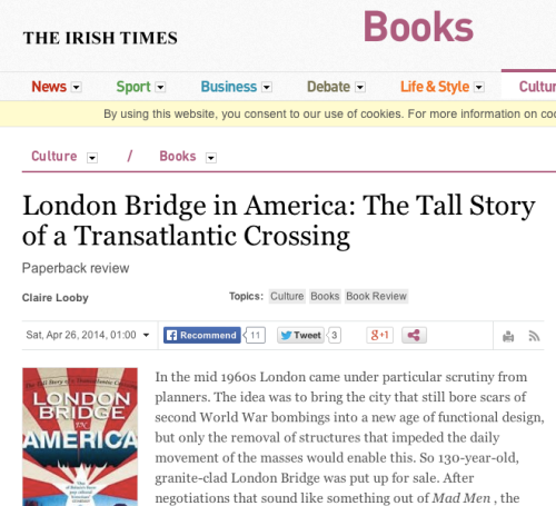 Review: The Irish Times Review on London Bridge in America