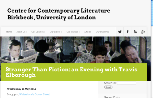 Stranger Than Fiction: An Evening with... Gower Street Waterstone's on 21 May - Free