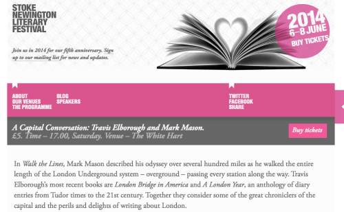 Stoke Newington Literary Festival Event with Mark Mason - The White Hard 7 June at 5. 30 pm -